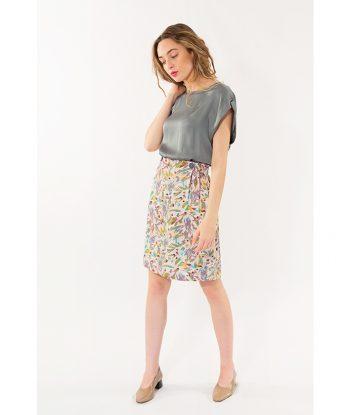 Falda corta con estampado floral marca PAN. Moda Primavera Verano 2018 LAMOI