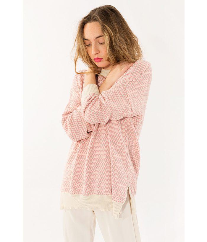 Jersey de punto rosa marca PAN. Moda Primavera Verano 2018 LAMOI