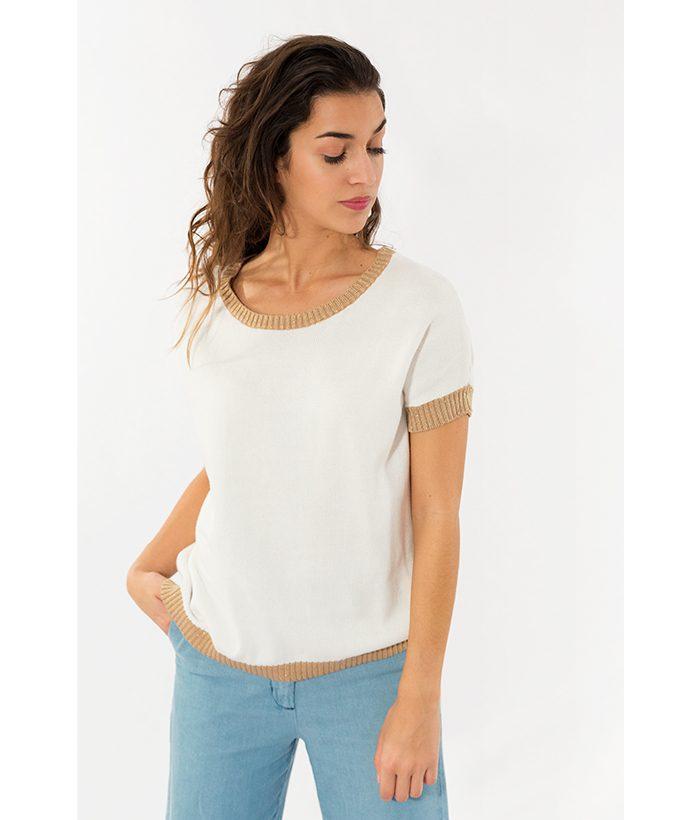 Jersey de algodón blanco marca SUD EXPRESS. Moda Primavera Verano 2018 en LAMOI