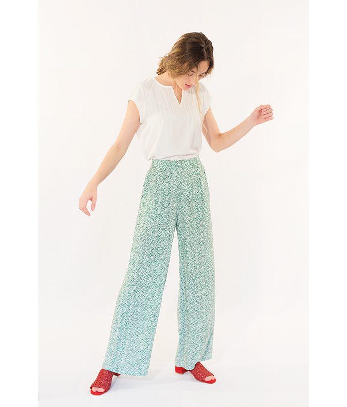 Pantalón estampado verde marca ICHI. Moda Primavera Verano 2018 en LAMOI