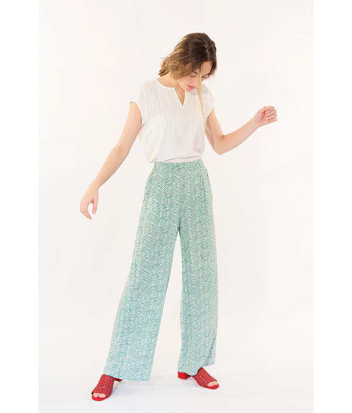 Pantalón estampado verde marca ICHI