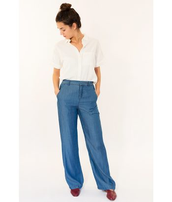 Pantalón tencel azul denim marca ICHI. Moda Primavera Verano 2018 LAMOI
