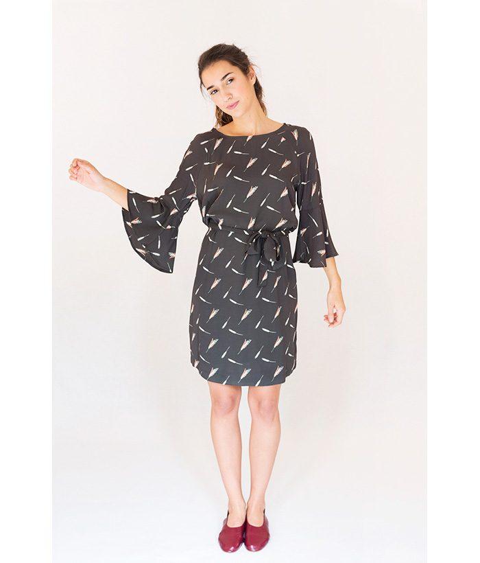 Vestido manga tres cuartos estampado marca YATA en LAMOI. Moda de mujer primavera verano 2018