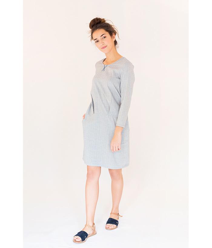 Vestido de algodón azul claro marca PAN