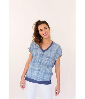 Blusa cuadros azul marca YAYA. Moda Primavera Verano 2018 en LAMOI