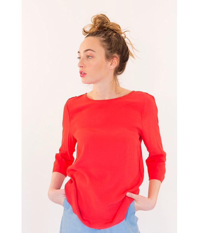 Blusa rojo coral de la marca ICHI