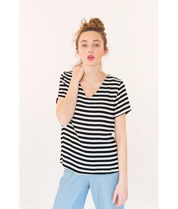 Blusa tendencia rayas marca ICHI. Moda Primavera Verano 2018 en LAMOI