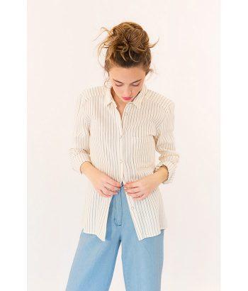 Camisa algodón color crudo marca ROPA CHICA. Moda Primavera Verano 2018 en LAMOI
