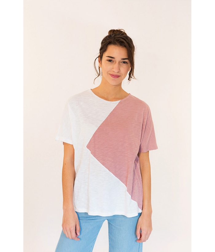 Camiseta bicolor blanca y rosa nude marca PAN. Moda Primavera Verano 2018 en LAMOI