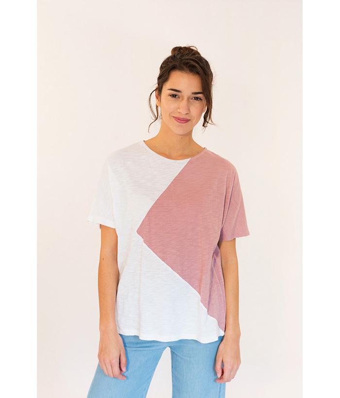 Camiseta bicolor blanca y rosa nude marca PAN