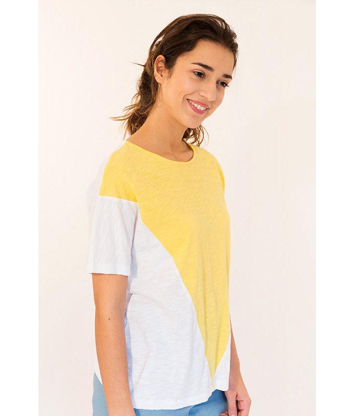 Camiseta bicolor amarilla y blanca marca PAN. Moda Primavera Verano 2018 en LAMOI