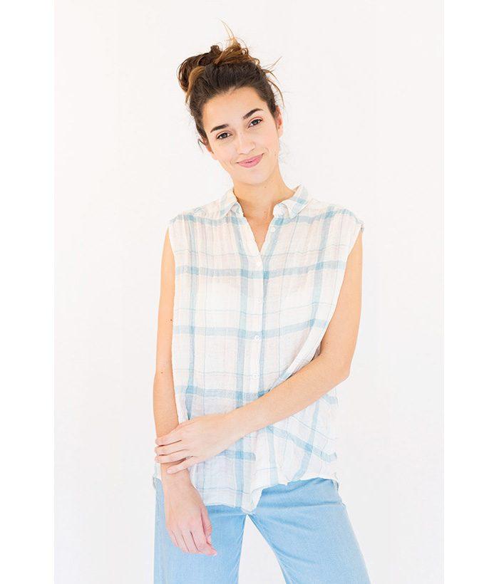 Blusa cuadros claros marca SUD EXPRESS. Moda Primavera Verano LAMOI 2018