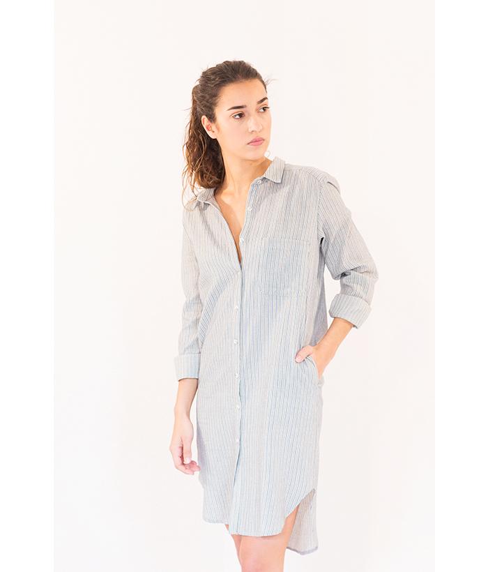 Vestido camisero gris