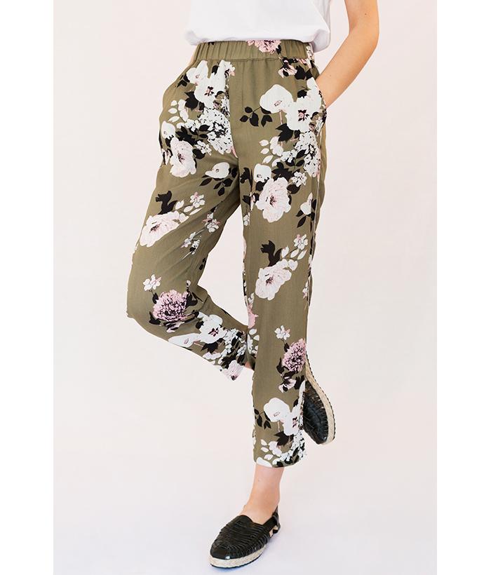 pantalones de flores verde de freequent