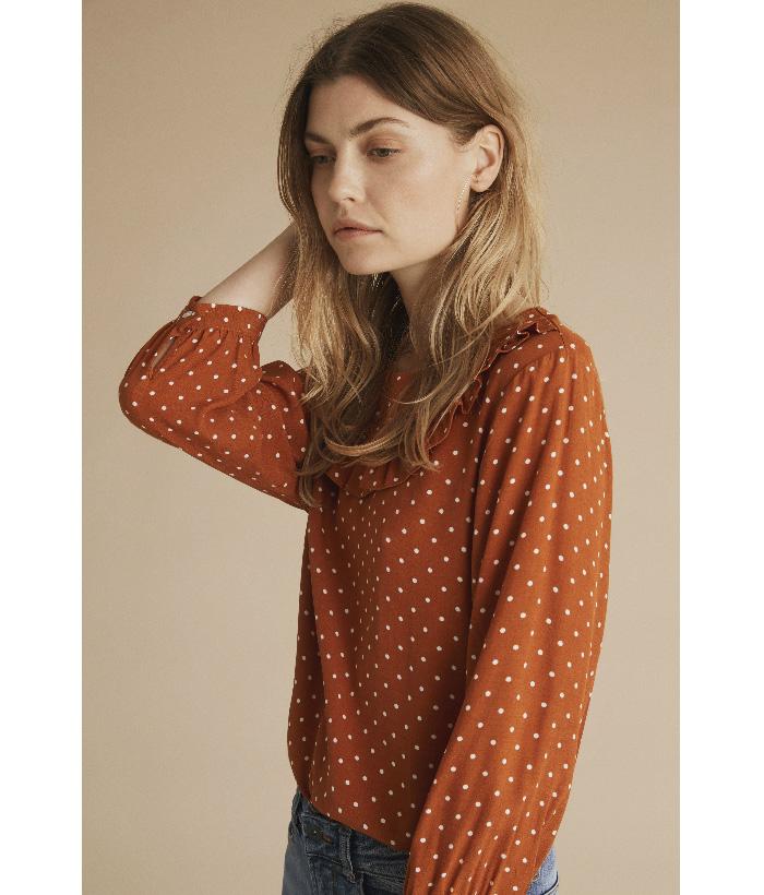 Camisa de lunares y manga francesa – ICHI – Toda la moda en LAMOI
