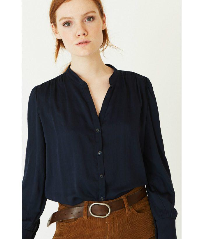 Camisa cuello pico azul marino - Ropa Chica - Moda de mujer en LAMOI