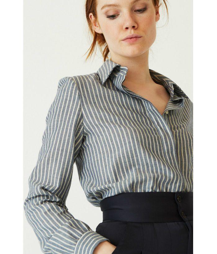 Camisa rayas con hombreras - Ropa Chica - Moda de temporada en LAMOI
