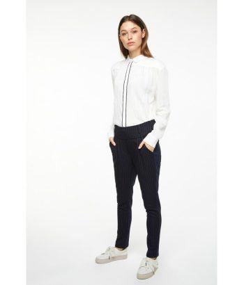 Camisa sedosa con ribete doble - YAYA - Moda otoño invierno LAMOI