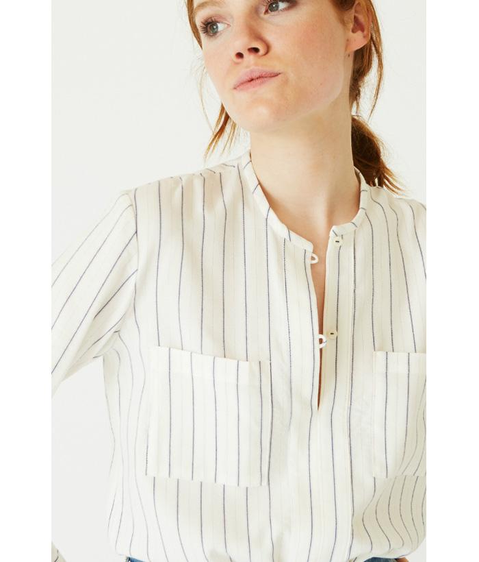 Camisa rayas azules e hilo de dorado – Ropa Chica – Moda AW en LAMOI