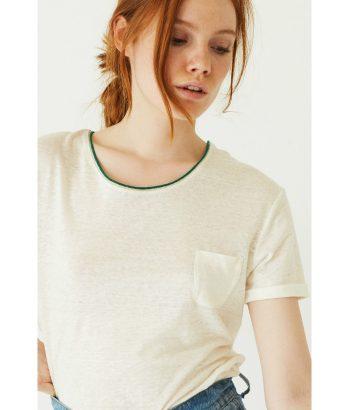Camiseta con ribete verde - Ropa Chica - Moda de temporada en LAMOI