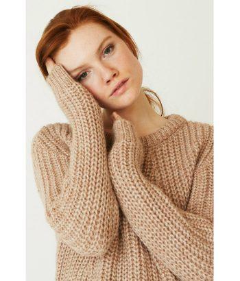 Jersey rosa claro de punto gordo -Ropa Chica- Moda de mujer LAMOI