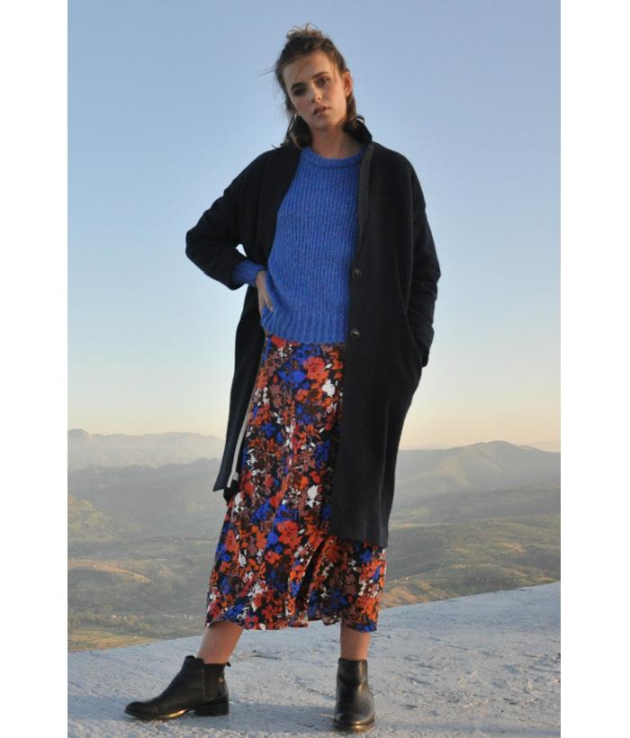 Jersey de punto gordo azul Klein – ICHI – Moda AW de mujer en LAMOI
