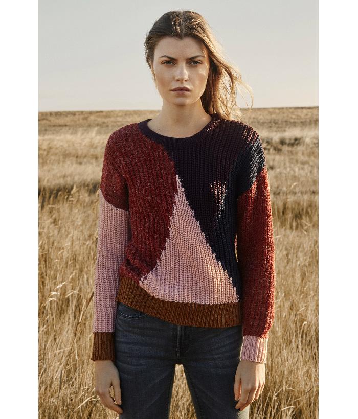 Jersey geométrico tricolor – ICHI – Moda Otoño Invierno para  mujer en LAMOI