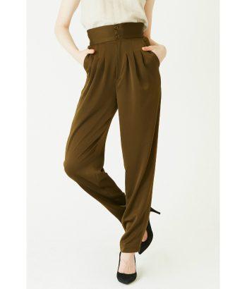 Pantalón de vestir verde satinado - Ropa Chica - Moda de mujer LAMOI