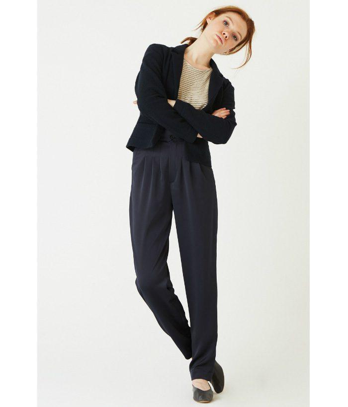 Pantalón de vestir azul satinado - Ropa Chica - Moda de mujer en LAMOI