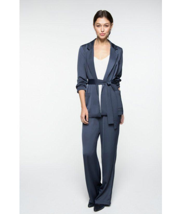 Pantalón satinado azul noche - YAYA - Moda de temporada en LAMOI