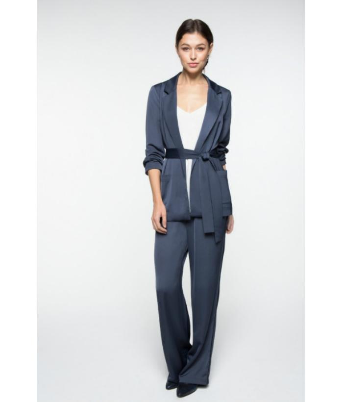 Pantalón satinado azul noche – YAYA – Moda de temporada en LAMOI