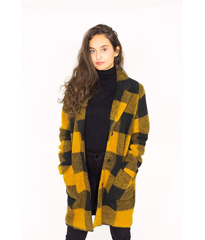 Abrigo de lana a cuadros camel y negro - ICHI - MODA de mujer LAMOI