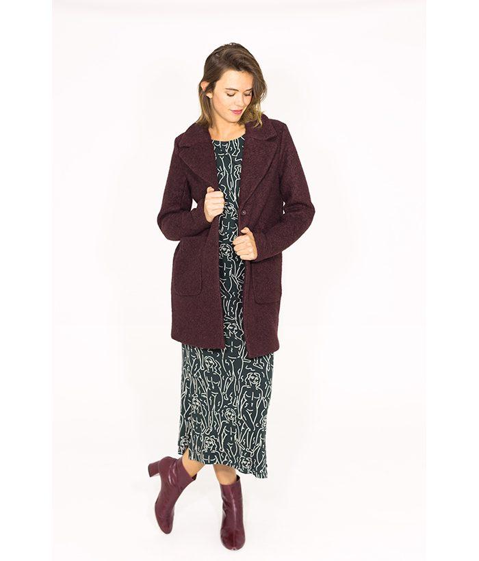 Elegante abrigo burdeos - ICHI - Moda otoño invierno 2018-2019 LAMOI