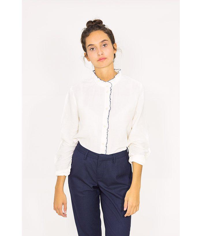 Camisa algodón con ribete azul - Harris Wilson - MODA de mujer LAMOI