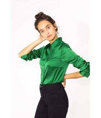Blusa satinada verde - YAYA - MODA otoño invierno 2018-2019 LAMOI