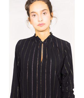 Blusa negra con hilo metálico plateado - Sud Express - MODA AW LAMOI