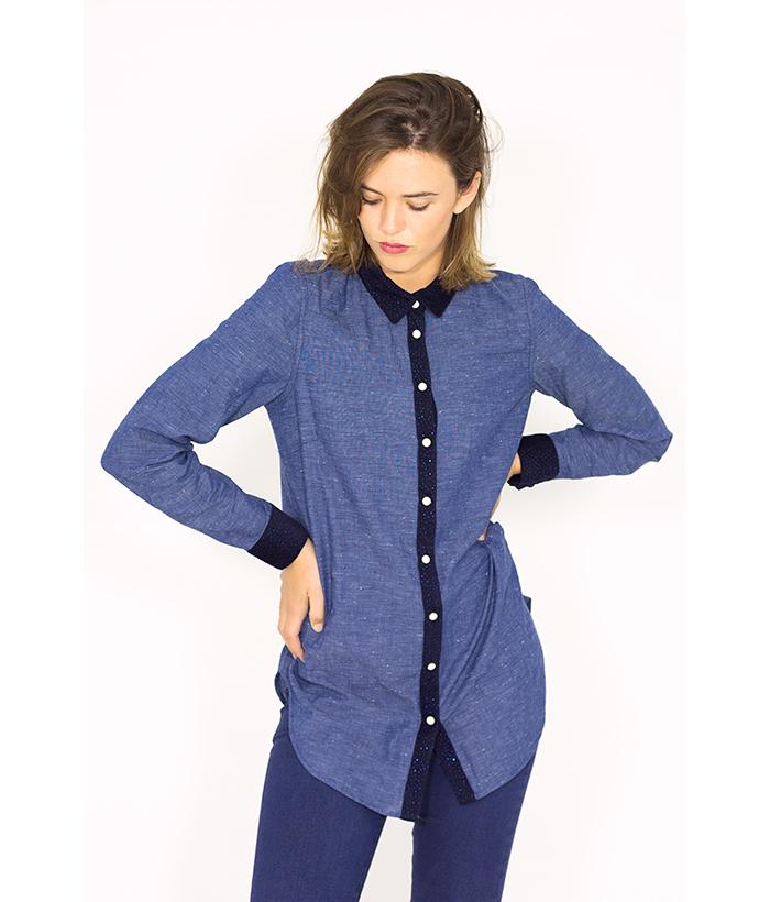 Camisa tejana azul – NÜMPH – MODA para la mujer actual en LAMOI