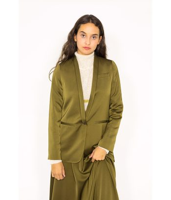 Blazer satinado verde oliva - ROPA CHICA - Moda de mujer en LAMOI