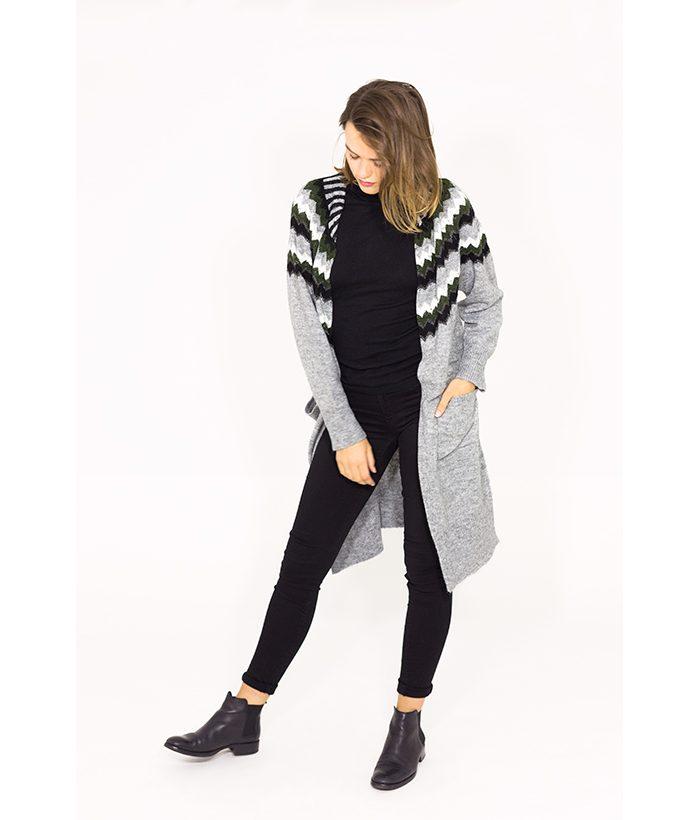 Chaqueta larga de lana con alpaca - FREEQUENT - Moda mujer en LAMOI