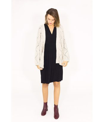 Chaqueta calada de punto beige - ICHI - Moda de mujer otoño invierno LAMOI
