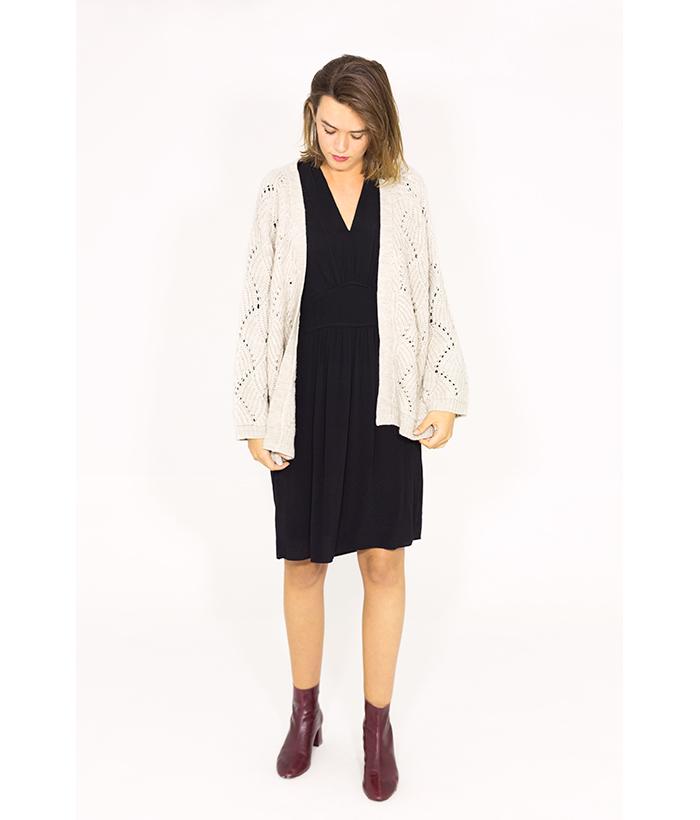 Chaqueta calada de punto beige – ICHI – Moda de mujer otoño invierno LAMOI