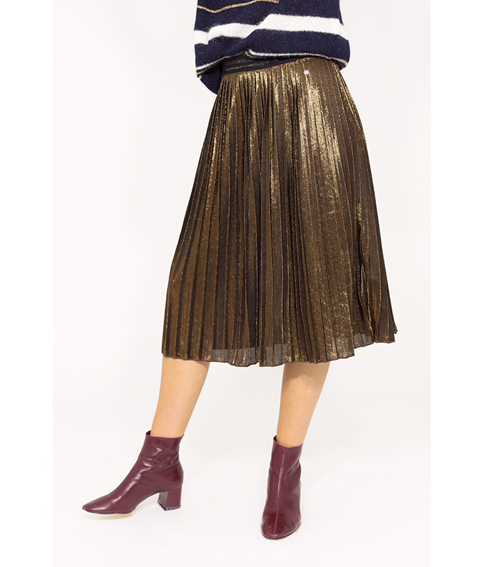 Falda plisada brillo color bronce – NÜMPH – MODA de mujer en LAMOI