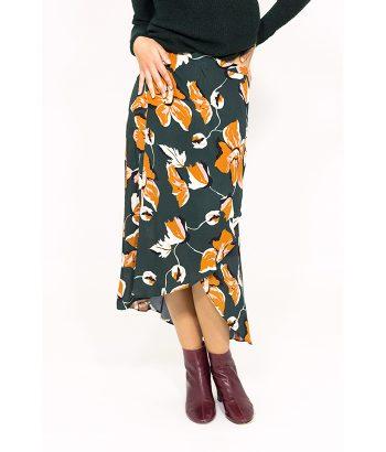 Falda otoñal tipo pareo estampada - ICHI - MODA de otoño invierno en LAMOI