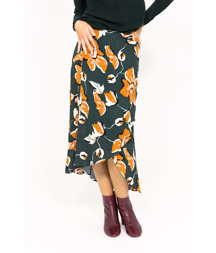 Falda otoñal tipo pareo estampada – ICHI – MODA de otoño invierno en LAMOI