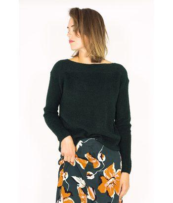 Jersey verde de lana con cuello barco - NÜMPH - Moda mujer en LAMOI