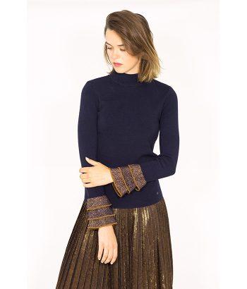 Jersey azul y bronce con volantes - NÜMPH - Moda de mujer en LAMOI