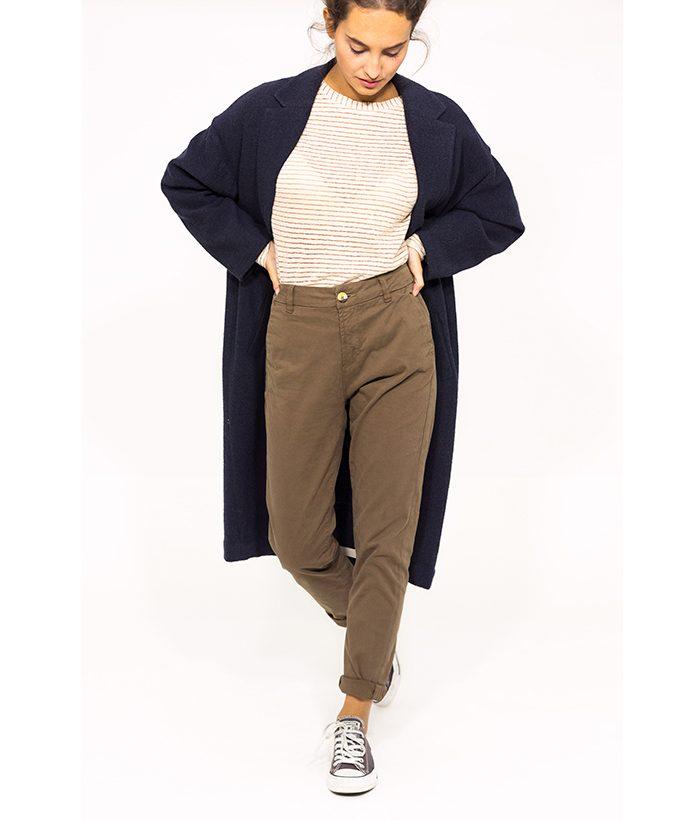 Pantalón chino marrón - ICHI - MODA otoño invierno 2018-2019 LAMOI