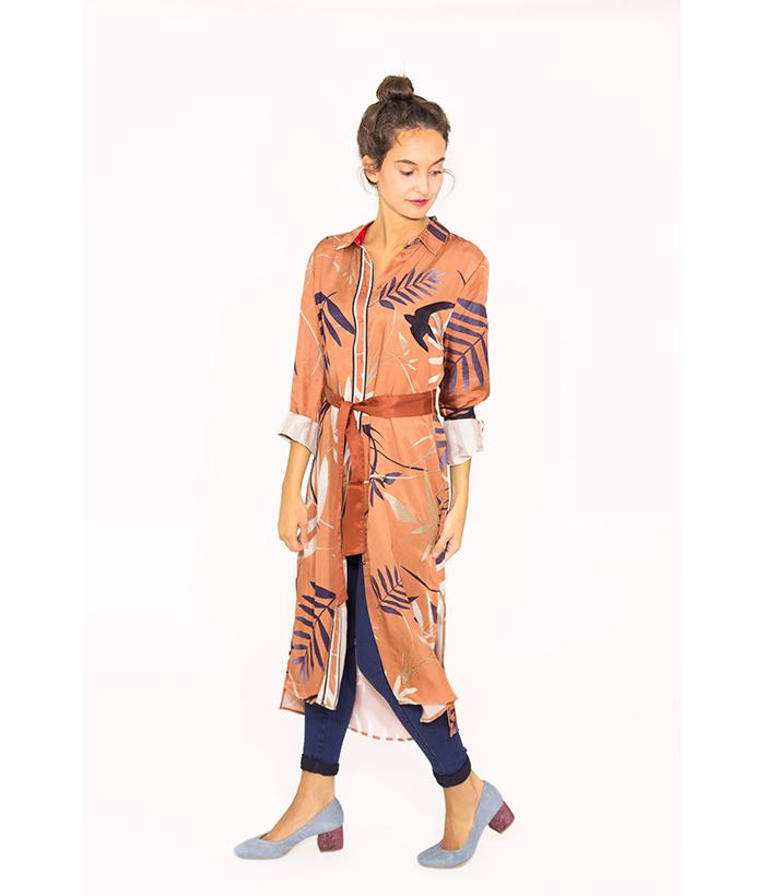 Vestido camisero estampado de hojas – YAYA – MODA AW en LAMOI