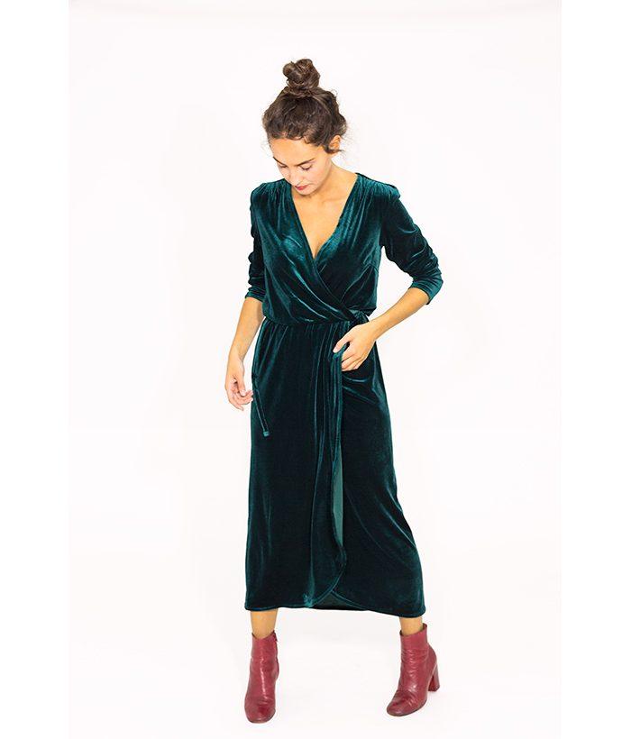 Vestido de terciopelo con cuello uve - ICHI - MODA de mujer en LAMOI