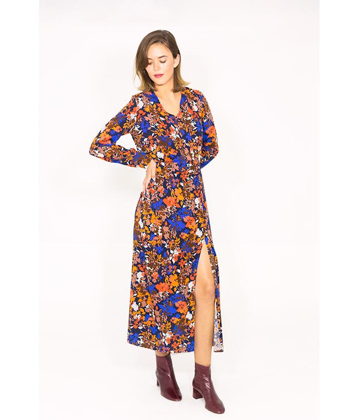 Vestido largo estampado flores – ICHI – Moda otoño invierno en LAMOI